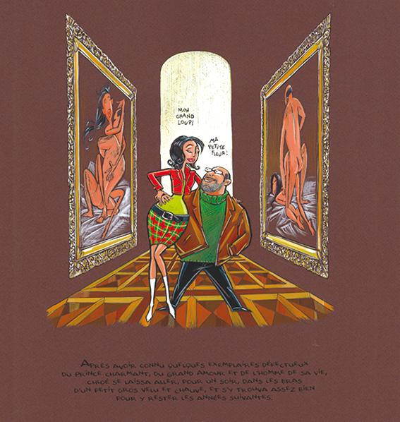 Après avoir connu quelques exemplaires défectueux du Prince Charmant, du Grand Amour, et de l'Homme de sa Vie, Chloé se laissa aller, pour un soir,  dans les bras d'un petit gros velu et chauve et s'y trouva assez bien pour y rester les années suivantes.