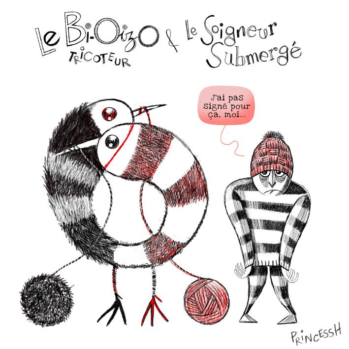 Les duos Idiots : Le Bi-oizo tricoteur et le Soigneur Submergé. Illustration par PrincessH