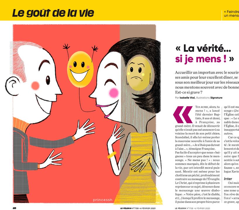 """""""La vérité si je mens"""" pour Le Pélerin 7158, PrincessH illustration"""
