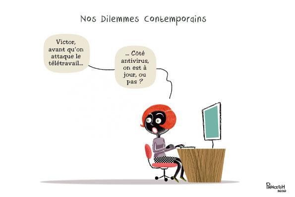 Corona, télétravail et antivirus, pour La Croix, dessin de PrincessH