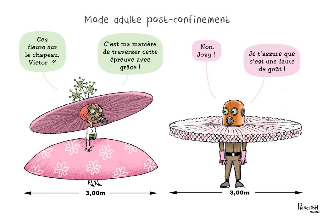 La Croix : mode adulte post confinement, par PrincessH. Publié dans La Croix le 30 avril 2020.