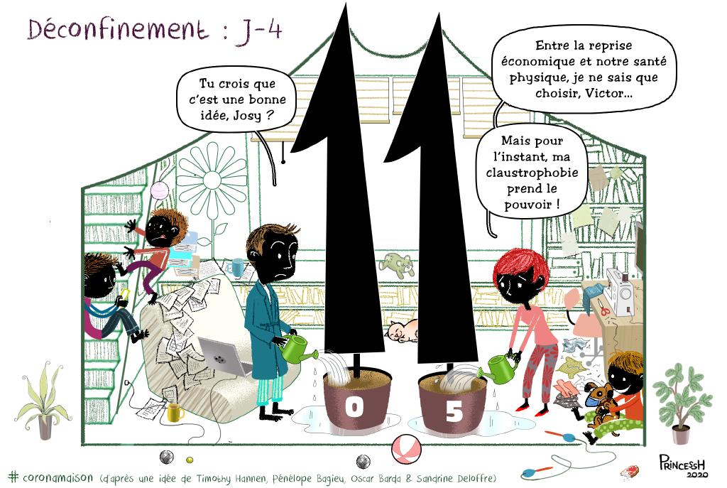 Déconfinement J-4 dans la coronamaison, pour La Croix du 7 mai 2020, illustration de PrincessH