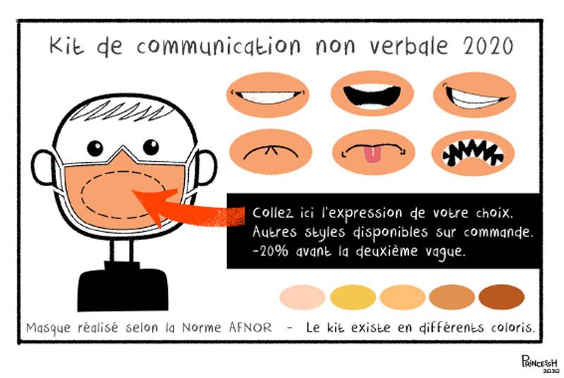 Communication non verbale en temps de pandémie, dessin de PrincessH, pour La Croix du 14 mais 2020