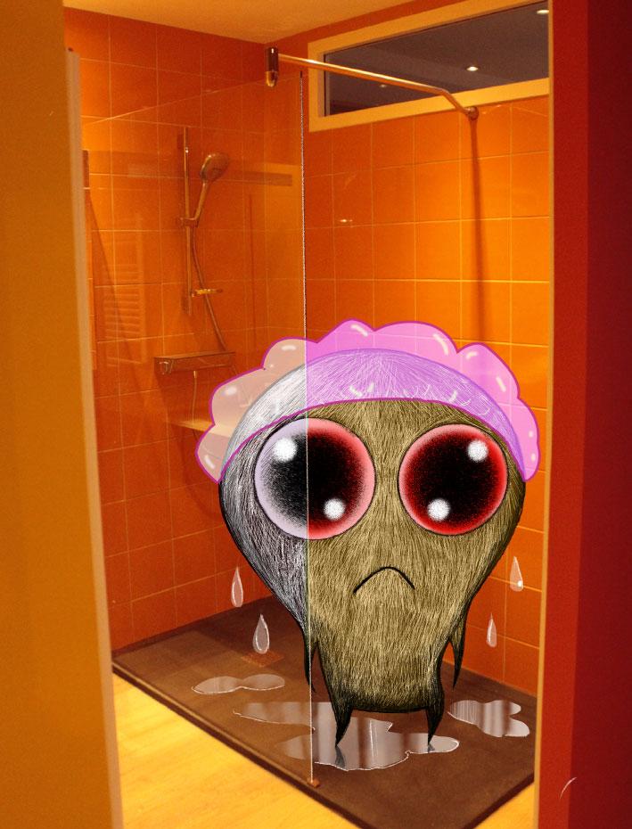 """""""Il y a une bête dans la douche"""", dessin et photo  :  PrincessH."""
