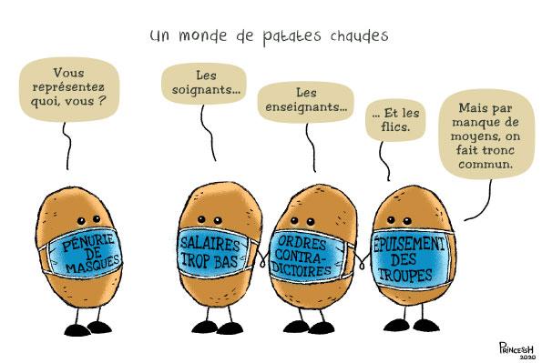 """""""Un. monde de patates chaudes"""" PrincessH pour La Croix du 18 juin 2020"""