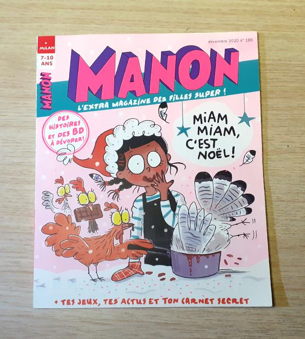 Couverture du Magazine Manon, n°188, Milan Presse. Illustration d'Isabelle Maroger