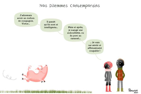 """""""Le cochon de compagnie"""", PrincessH pour La Croix du 28 janvier 2021"""