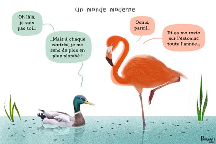"""Le dessin du 9 septembre 2021 dans le journal La Croix. """"Du plomb dans les oiseaux"""""""