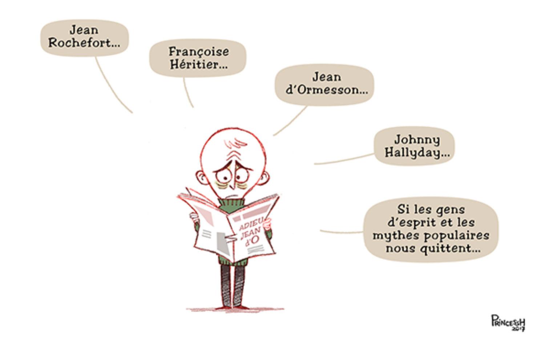 Hommage à Jean d'Ormesson, Jean Rocherfort, Françoise Héritier et Johnny Hallyday