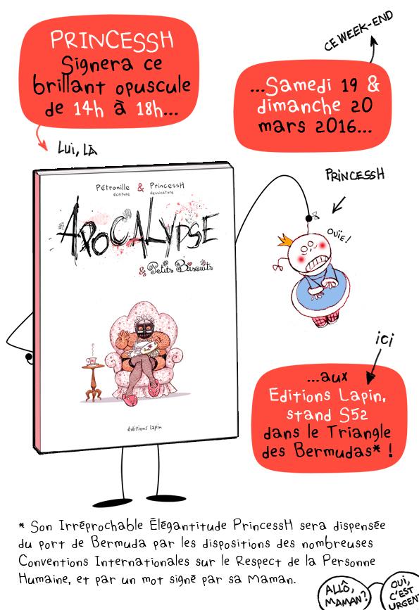 """Avant-première de """"Apocalypse & Petits Biscuits"""", Pétouille et PrincessH, éditions Lapin, 2016."""