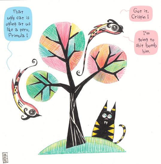 Crispin, Primula, l'arbre coloré et le chat bizarre