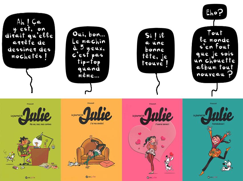 """""""Le Journal de Julie"""", tomes 1,2,3 & 4, Auteur : PrincessH, coll.BD Kids, Milan Editions."""