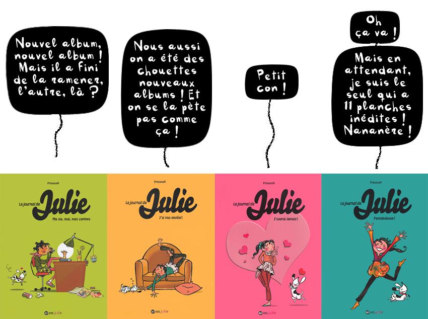 """""""Le journal de Julie"""", Tomes 1, 2, 3 et 4, collection BD Kids, Milan Editions"""