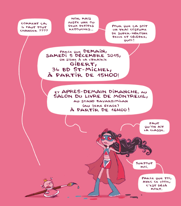 "Adapté d'une illustration de ""Le Journal de Julie : J'oserai jamais !"", tome 3 coll. BD Kids, Milan editions."