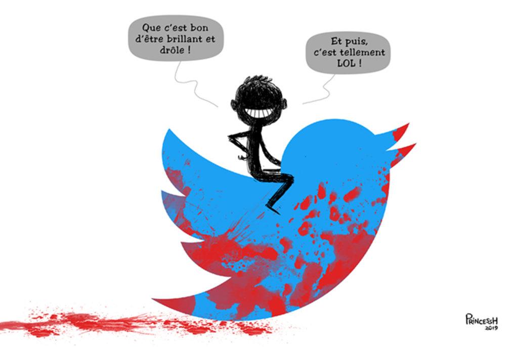 Un homme chevauche le logo Twitter qui est éclaboussé de sang. Il dit : -que c'est bon, d'être brillant et drôle. Et puis, c'est tellement LOL !