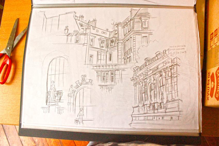 Depuis les jardins du musée Galliera, Paris - Cours de perspective de Thierry Lebreton, Ateliers des Beaux-Arts de la Ville de paris. 2013.