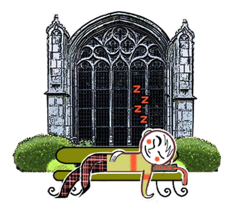 Sieste dans le jardin d'une église...